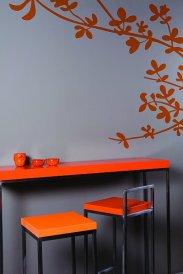 Ściana, zestawienie kolorystyczne: szary i pomarańczowy